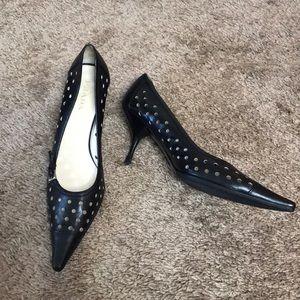 Prada Black Leather Pointed Toe Heels Shoes